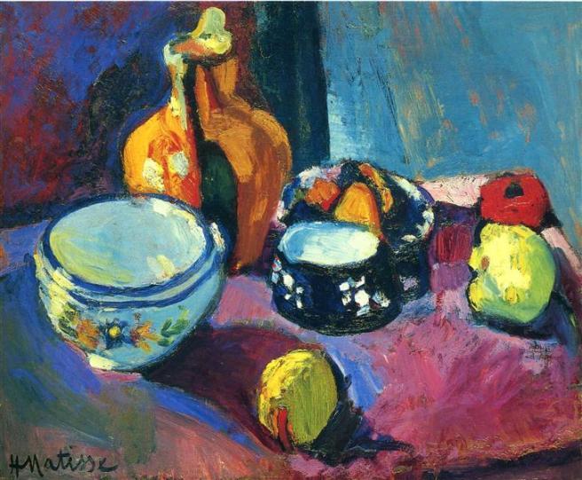 HENRI MATISSE - 1901 - Platos y fruta sobre rojo y negro - Museo del Hermitage