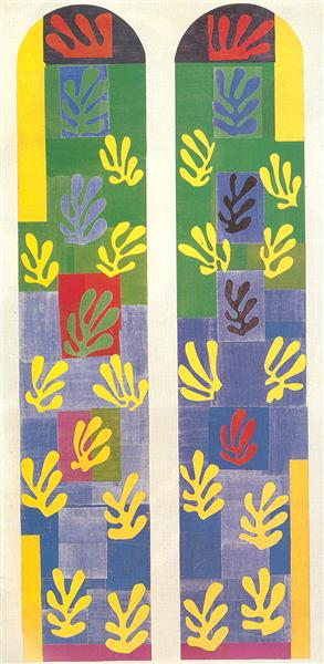 HENRI MATISSE - 1949 - Stained Glass Window Window of the abside of the Rosary Chapel